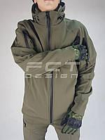 Куртка зимняя Хантер Софтшелл флис хаки, фото 1