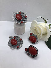 Комплект серебряных украшений Аура коралл от Ирида-В