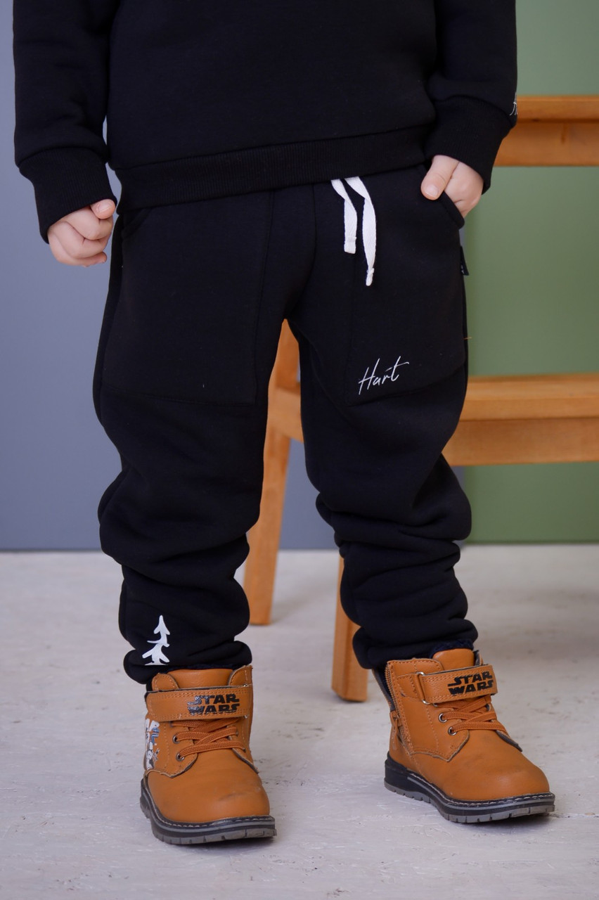 Штаны теплые детские спортивные для мальчика (на байке) (86, 92) цвет черный