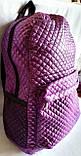 Стеганный бежевый рюкзак с сеткой по бокам 26*42 см, фото 3