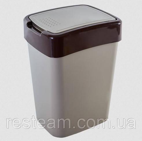 """Ведро для мусора плоская кр. 18 л """"Євро"""" беж"""