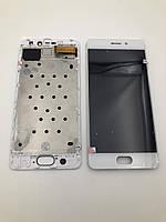 Дисплей для мобильного телефона Meizu Pro 7, белый, с тачскрином, AAA, TFT, с рамой