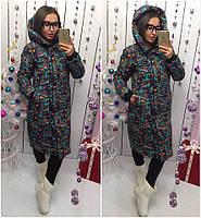 Женская теплая куртка-пальто с капюшоном в расцветках (Норма), фото 2