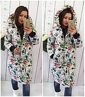 Женская теплая куртка-пальто с капюшоном в расцветках (Норма), фото 3