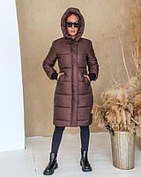 Женская теплая куртка-пальто с капюшоном в расцветках (Норма), фото 5