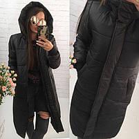 Женская теплая куртка-пальто с капюшоном в расцветках (Норма), фото 6