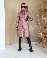 Женская теплая куртка-пальто с капюшоном в расцветках (Норма), фото 7