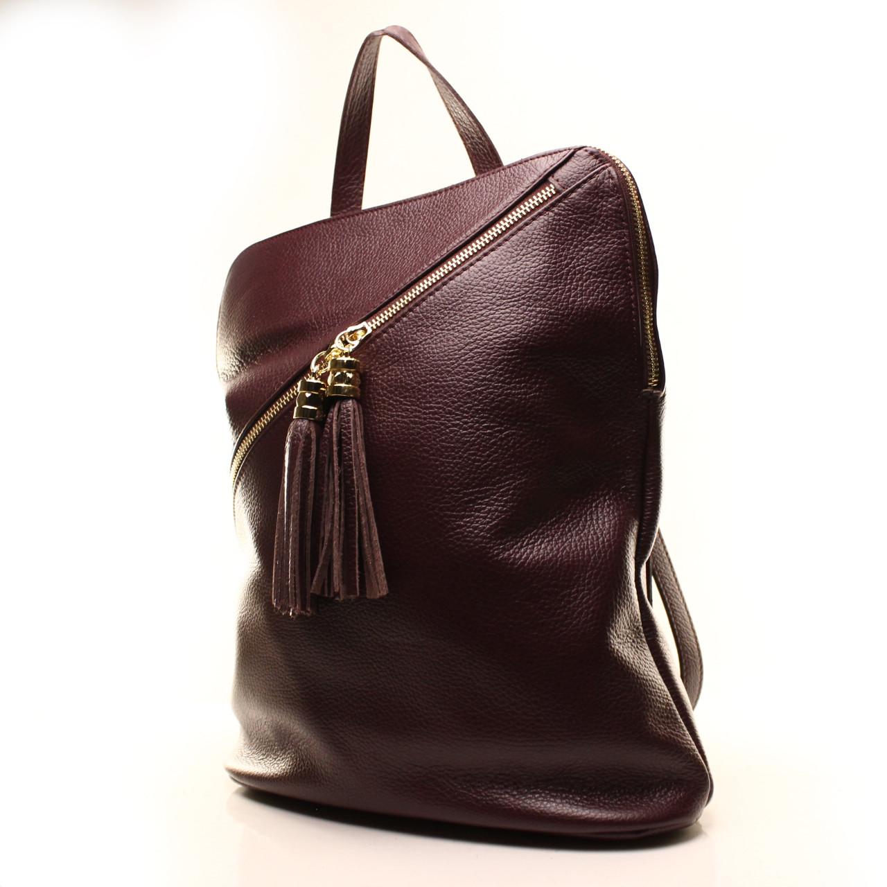 Рюкзак кожаный итальянский Casa Familia BIC0-824 бордовый