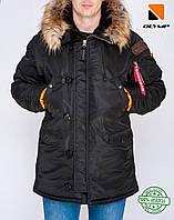 Парка мужская зимняя Аляска Old до -35*С черная   Куртка мужская удлиненная   Пальто мужское зимнее   ЛЮКС
