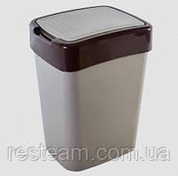 """Ведро для мусора плоская кр. 25 л """"Євро"""" какао"""