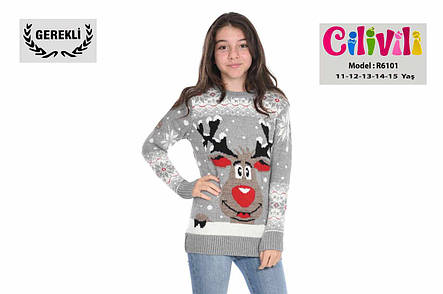 Вязаный свитер на девочек 11-15 лет Прикольный олень, фото 2