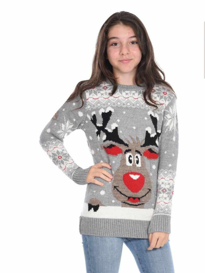 Вязаный свитер на девочек 11-15 лет Прикольный олень