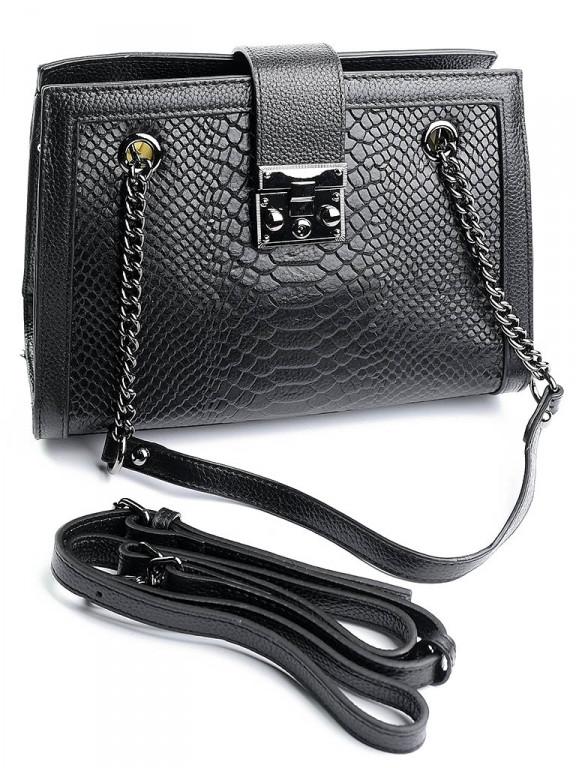 Женская сумка красивая кожаная фактура змеи Case 599 черная