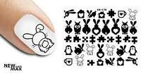 Слайдер-дизайн наклейки на ногти для маникюра водные зайчики