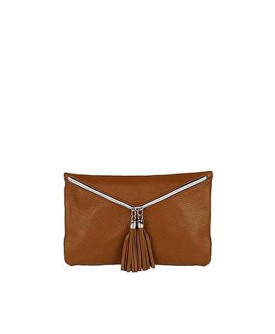 Жіноча шкіряна сумочка-клатч S0034 Світло-коричневий, фото 2