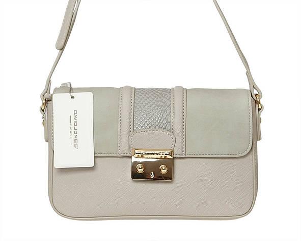 Женская сумка из экокожи David Jones 5502-2 Светло-серый, фото 2
