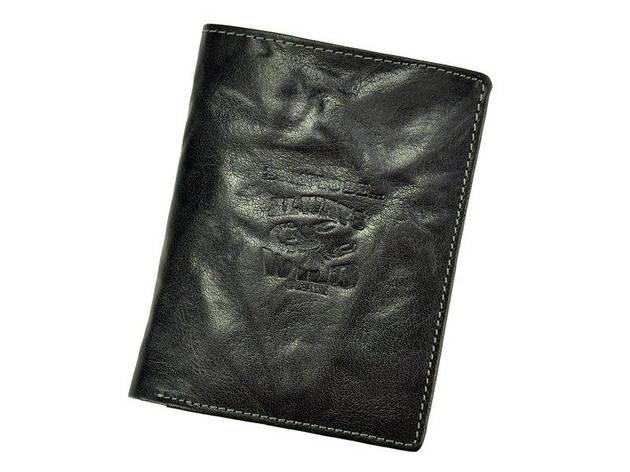 Мужской кожаный кошелек Wild N4-BC Черный, фото 2