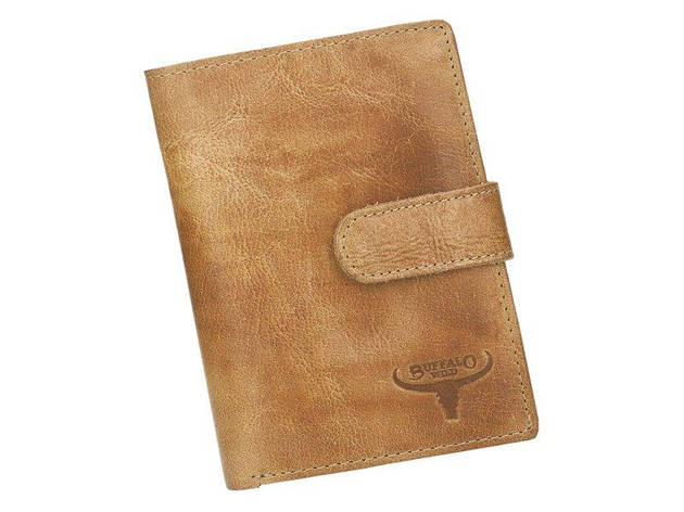 Мужской кожаный кошелек Wild N4L-CH-HP RFID Песочный, фото 2
