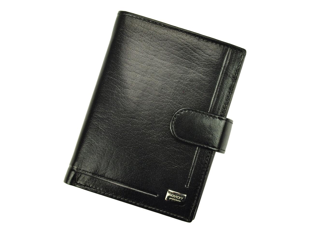 Чоловічий шкіряний гаманець Rovicky PC-027L-BAR RFID Чорний