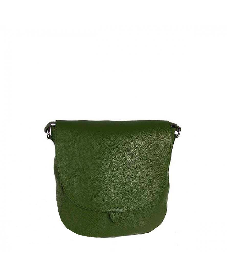 Жіноча шкіряна сумка Vera Pelle S0728 Темно-зелений