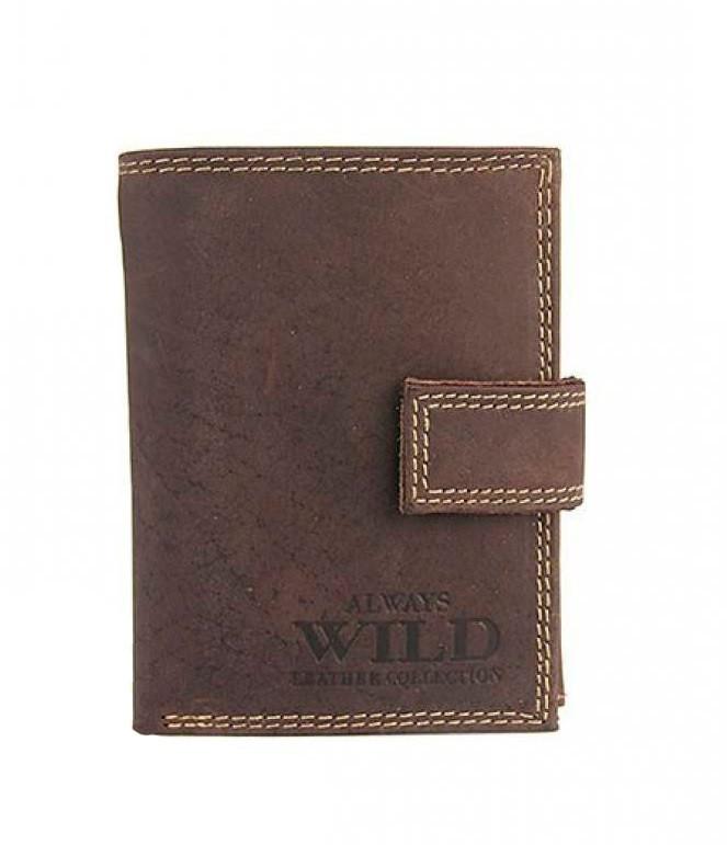 Мужской кожаный кошелек Wild N104L-MH Коричневый