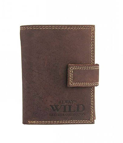 Мужской кожаный кошелек Wild N104L-MH Коричневый, фото 2