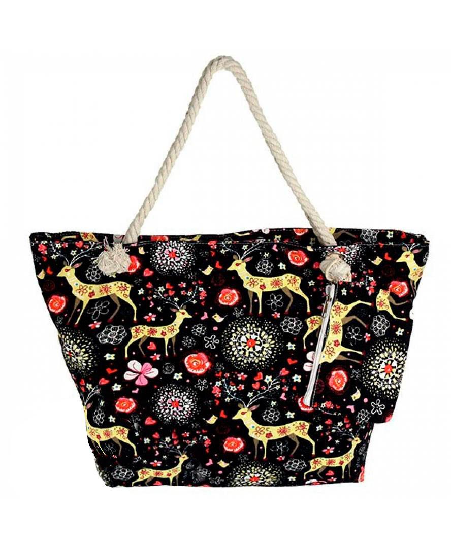 Женская пляжная тканевая сумка Phil 8017 Черный