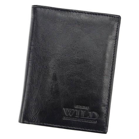 Чоловічий шкіряний гаманець Wild N4-VTK Чорний, фото 2