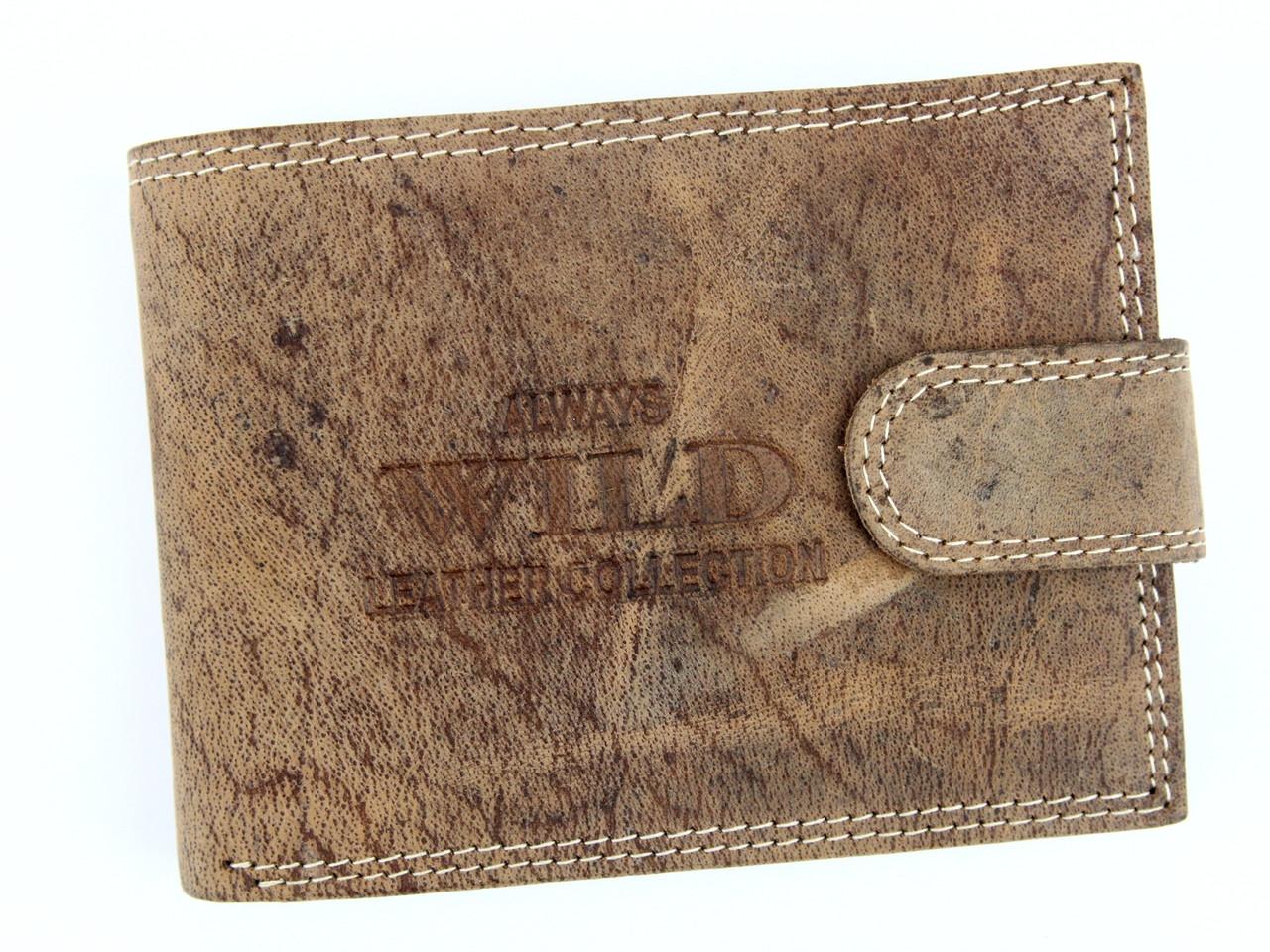 Чоловічий шкіряний гаманець Wild RMH-02L-CFL Коричневий