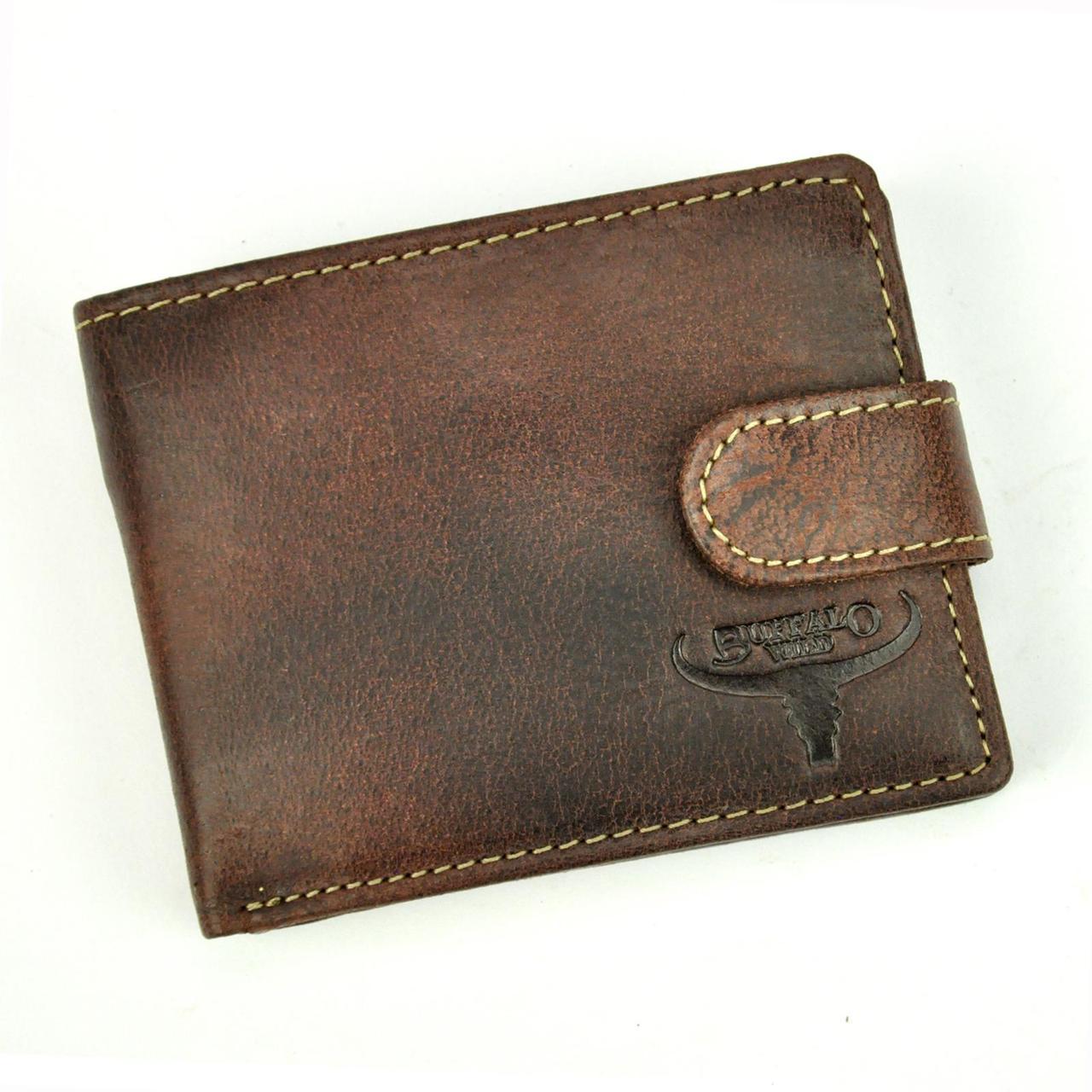 Мужской кожаный кошелек Wild N1190L-HP Коричневый