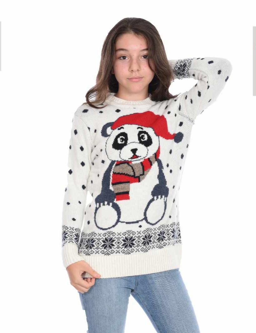 Вязаный новогодний свитер на девочек 11-15 лет Любимая панда