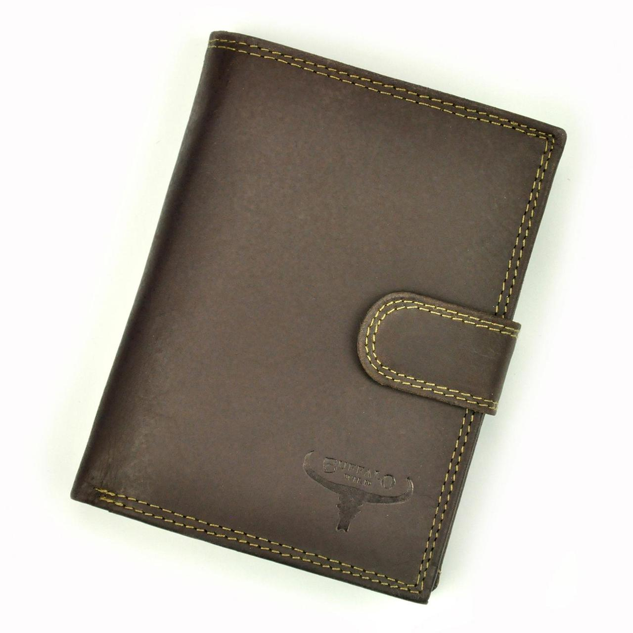 Мужской кожаный кошелек Wild N4L-B-MHU RFID BUFFALO Коричневый