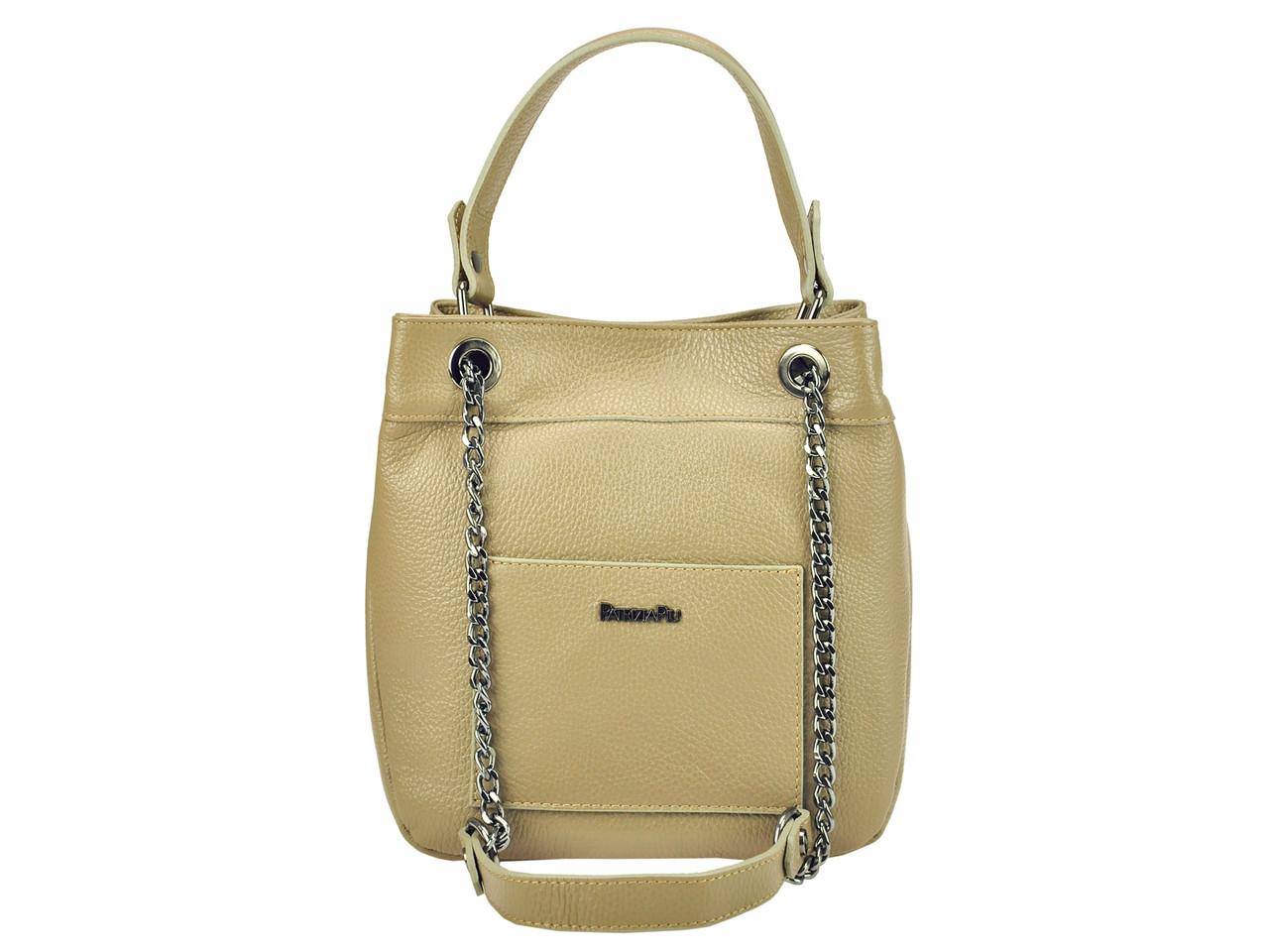 Жіноча шкіряна сумка Patrizia Piu 118-025-1 Сіро-коричневий