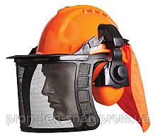 Щиток сітка з навушниками 31dB і каскою для газонокосильщика і лісоруба