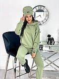 Теплый  спортивный костюм трехнить на флисе + шапка в комплекте размер: 42-44, 46-48,50-52, фото 3