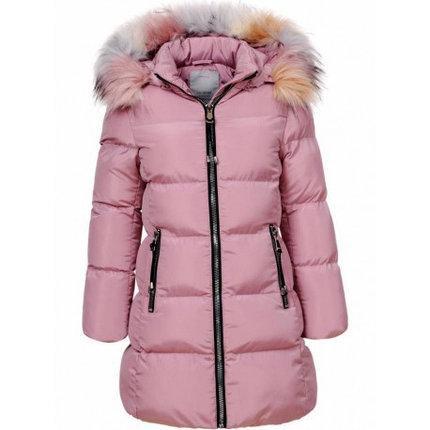 Подростковая зимняя куртка для девочки с мехом пудровая