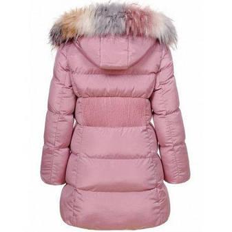 Подростковая зимняя куртка для девочки с мехом пудровая, фото 2