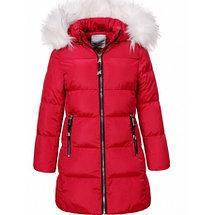 Подростковая зимняя куртка для девочки с мехом пудровая, фото 3