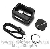 Силиконовый защитный чехол + ремешок + крышка объектива для экшн камеры гопро GoPro Hero 9 Black Черный