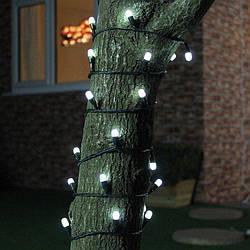 """Уличная LED гирлянда Нить """"String"""" 10 метров Белая, 100 Ламп черный провод каучук пвх"""