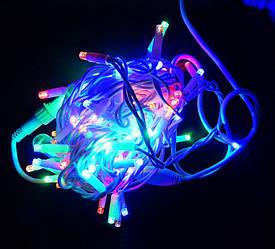 """Уличная LED гирлянда Нить """"String"""" 10 метров Мульти, 100 Ламп белый провод каучук пвх"""