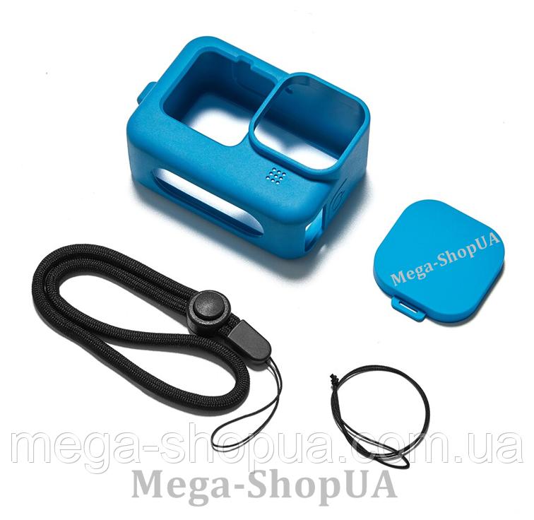 Чехол силиконовый с ремешком для GoPro Hero 9 Black Синий