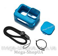 Силиконовый защитный чехол + ремешок + крышка объектива для экшн камеры гопро GoPro Hero 9 Black Синий
