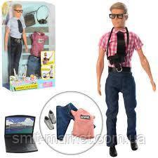 Кукла с нарядом DEFA 8385 Кен, фотоаппарат, ноутбук, 2вида, фото 2