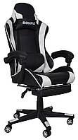 Кресло геймерское компьютерное с регулировкой спинки и подставкой для ног белое