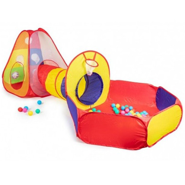 Детская игровая палатка + сухой бассейн + 100 цветных шариков домики туннель