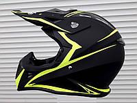 Кроссовый мото шлем Чёрно салатовый Street  размер S