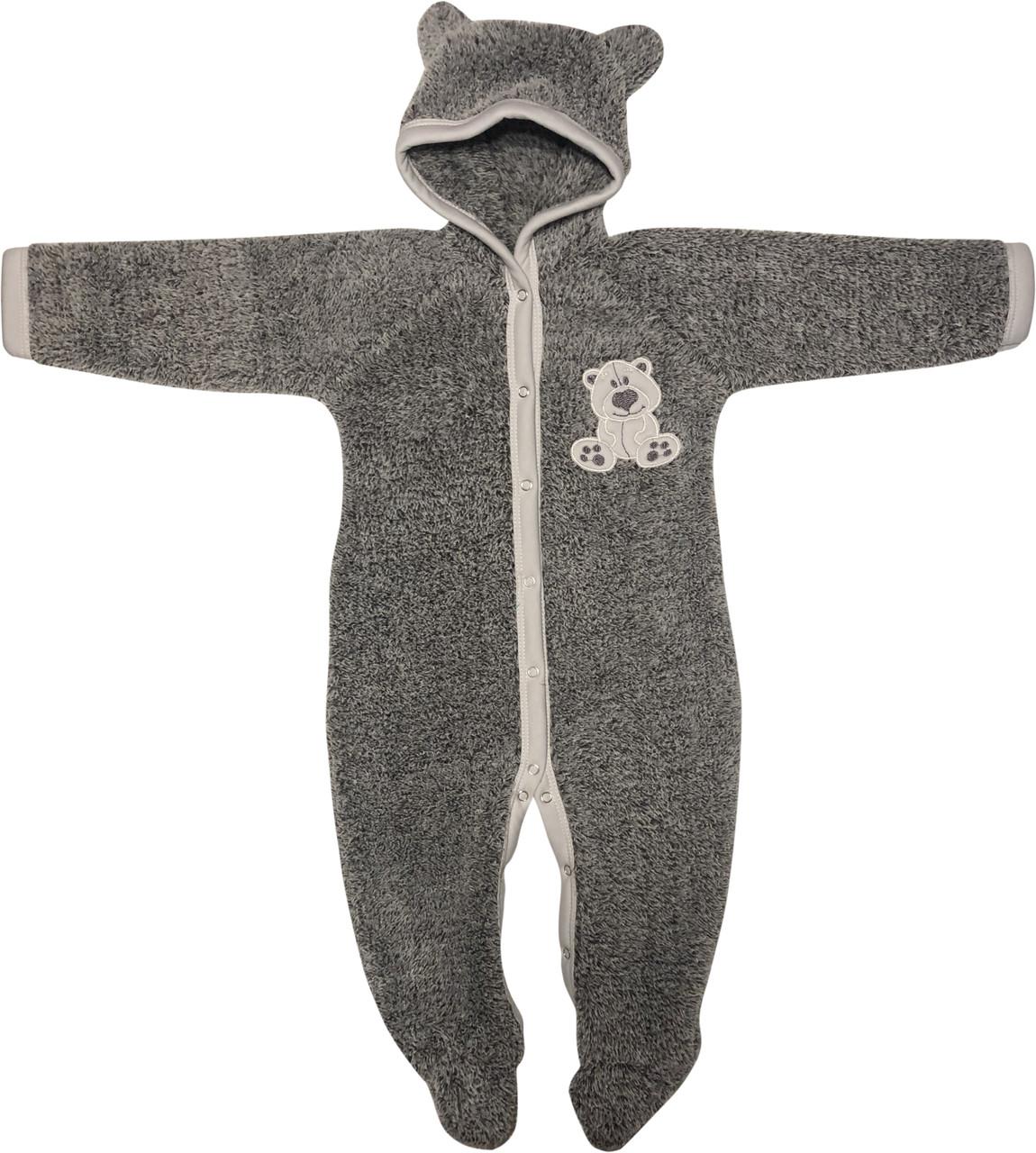 Тёплый человечек слип на мальчика рост 80 9-12 мес для новорожденных махровый с капюшоном серый