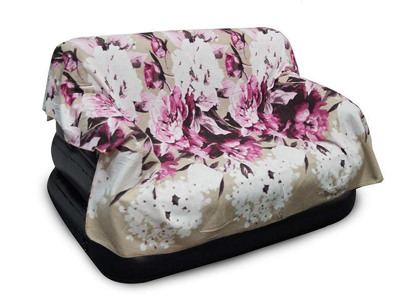 Тонкий флісовий плед 180х210 см, рожеві квіти