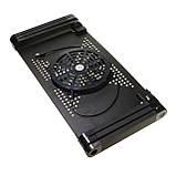 Складаний столик підставка для ноутбука з вентилятором, чорний, фото 2